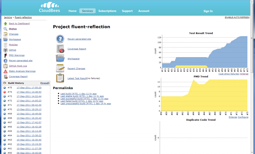 Screenshot of the fluent reflection jenkins build on cloudbees